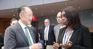 Minister of Finance, Kemi Adeosun in a chat with World Bank President Dr Jim Yong Kim at the G 24 Ministers meeting at the 2016 Spring meeting of the WorldBank/IMF in Washington DC