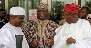 L-R: Sokoto State Governor Aminu Waziri Tambuwal, Senator Aliyu Wamakko and Governor Abdullahi Umar Ganduje in Niamey, after the inauguration of President mahamadou Issoufou.