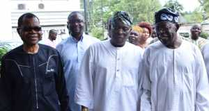 R-L: National Leader, All Progressives Congress (APC), Asiwaju Bola Tinubu; former Governor of Ogun State, Aremo Olusegun Osoba and National Vice Chairman, South-West, APC, Chief Pius Akinyelure during the meeting of the South West APC Leaders at Aremo's residence in Bourdillon, Ikoyi, Lagos, on Sunday,