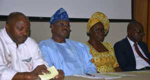 L-R: Director-General, International Institute of Tropical Agriculture, Dr. Nteranya Sanginga; Oyo State Governor, Senator Abiola Ajimobi; and Regional Director (South-West), Federal Ministry of Agriculture and Rural Development, Mrs. Comfort Awe, during the second consultative assembly on Oyo State Agriculture Initiative, held at IITA, Ibadan