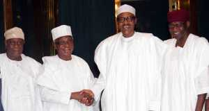 President Buhari in a handshake with Phillip Asiodu during the visit of Council of Retired Federal Permanent Secretaries to Aso Villa
