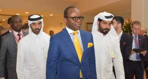 Minister of State for Petroleum Resources, Dr. Ibe Kachikwu arriving venue of Sunday's Ministerial Meeting of Oil Producing Countries in Doha, Qatar.