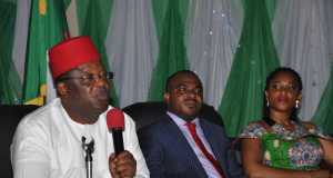 L-R: Ebonyi State Governor, David Umahi; Commissioner for Agriculture, Barrister Uchenna Orji and Chairman, House Committee on Agriculture,Barrister Augusta Chika Ude, at a special stakeholders summit on Rice Revolution in the state in Abakaliki on Wednesday.