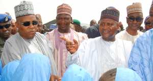 Borno State Governor, Alhaji Kashim Shettima; President/CE, Dangote Group, Aliko Dangote; Executive Director, Dangote Group, Halima Aliko Dangote during a visit to Dalori Camp for Internally Displaced Persons (IDPs) in Maiduguri recently.