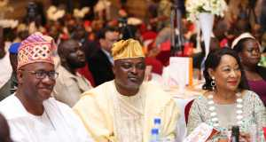 L-R: Member, Lagos State House of Assembly, Hon. Tunde Braimoh; Speaker, Lagos State House of Assembly, Rt. Hon. Mudashiru Obasa; and President, LCCI, Chief, Mrs, Nike Akande during LCCI 2016 Awards on Sunday