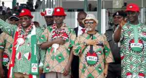 Minister of Labour and Employment, Chris Ngige and NLC/TUC presidents at 2016 Workers' Day Rally in Abuja