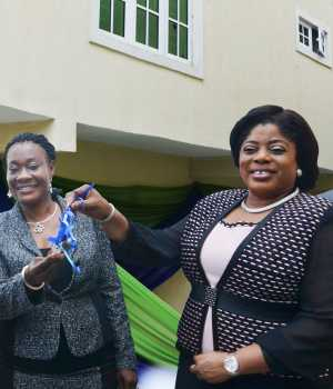 Deputy Director, Consumer Protection Council , Joshua Yakubu Nggada; Grand Prize Winner of a 4- Bedroom Duplex, Mrs. Clara Ego Ibedu; Executive Director, Lagos & Southwest, Fidelity Bank Plc, Mrs. Nneka Onyeali-Ikpe and Manager, Regulation and Monitoring, National Lottery Regulatory Commission, Nwakuche Durugo-Nwaohiri, at the presentation of keys of the brand new 4-bedroom duplex to Mrs. Clara Ego Ibedu, the Star Prize winner of the Fidelity Save4 Shelter Savings Promo in Lagos