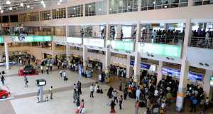 Stranded passengers at the Lagos Airport