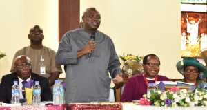 L-R: Lagos State Governor, Mr. Akinwunmi Ambode (2nd left); Justice George Oguntade (rtd.); Diocesan Bishop of Lagos and Dean Emeritus, Church of Nigeria (Anglican Communion), Most Reverend Ephraim Ademowo and his Wife, Oluranti during the Official opening of the First Session of the 33rd Synod, Diocese of Lagos Church of Nigeria (Anglican Communion) at the Our Saviour's Church, Tafawa Balewa Square, Lagos