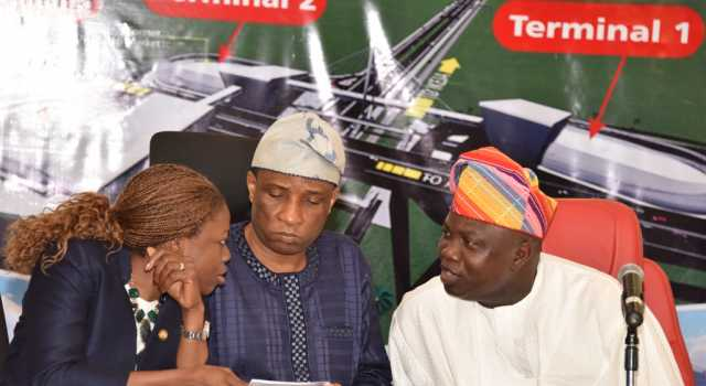 R-L: Lagos State Governor, Mr. Akinwunmi Ambode, with Secretary to the State Government, Mr. Tunji Bello and Special Adviser to the Governor on Urban Development, Mrs. Yetunde Onabule during a meeting with Transport Union Leaders, Oshodi Market Men & Women on the construction of the Oshodi Transport Interchange at the Banquet Hall, Lagos House, Ikeja, on Tuesday,