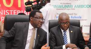 L-R: Commissioner for Economic Planning & Budget, Mr. Akinyemi Ashade (middle); flanked by Commissioner for Information & Strategy, Mr. Steve Ayorinde (left) and Permanent Secretary, Ministry of Economic Planning & Budget, Mr. Kadiri Abayomi Adebisi (right) during the Y2016 Ministerial Press Briefing to commemorate the First Year in Office of Governor Akinwunmi Ambode,
