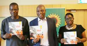 L-R: General Manager, External Relations, Shell Petroleum Development Company, Mr. Igo Weli; Managing Director SPDC and Country Chair, Shell Companies in Nigeria, Mr. Osagie Okunbor; and Communications Manager, Mrs. Sola Abulu, at the official launch and presentation of Shell Briefing Notes to energy editors in Lagos