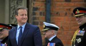 Britain's Prime Minister David Cameron attends an Armed Forces Day National Event at Cleethorpes
