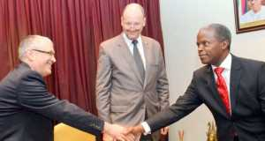 Vice President Yemi Osinbajo with European Union, led by the EU Ambassador in Nigeria, Michel Arrion