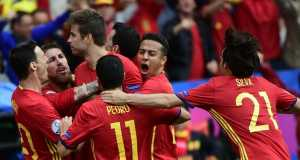 Jubilant Spaniards after crushing Turkey