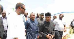 L-R- Femi Otedola, Aliko Dangote, Vice President Yemi Osinbajo and Gov. Akinwunmi Ambode of Lagos at the inspection of Dangote Petrochemical plant in Lagos