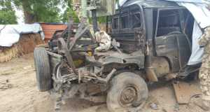 Boko Haram vehicle destroyed by the Troops