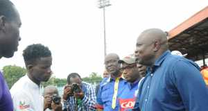 Lagos State Governor, Akinwunmi Ambode (right), in a handshake with the Captain, Ikorodu United Football Club, Fatai Abdullahi (2nd left), his counterpart from MFM Football Club, Opara Austine (left), Special Adviser on Sport to the Governor, Deji Tinubu (2nd right), Member, House of Representative from Ikorodu, Hon. Jimi Benson (3rd right), and 1st Vice Chairman, Nigeria Football Federation (NFF), Seyi Akinwunmi (4th right) during the Nigeria Professional Football League derby between Ikorodu United Football Club and MFM Football Club at the Agege Stadium, Lagos on Sunday,