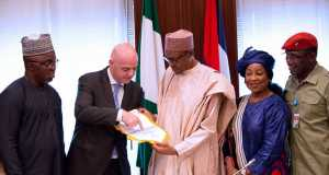 L-R: President of Nigeria Football Federation Mr Amaju Pinnick, FIFA President Mr Gianni Infantino, Secretary General of FIFA Ms. Fatima Samoura and Minister of Sports and Youth development Solomon Dalung at the Statehouse