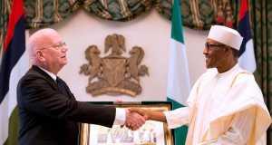 Outgoing U.S Ambassador to Nigeria, James Entwistle and President Muhammadu Buhari