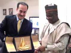L-R: Kuwait Ambassador to Nigeria, Dr. Abdulaziz Ahmad Al-Sharrah,presenting a souvenir to Governor Aminu Waziri Tambuwal when the latter visited the envoy in Abuja.