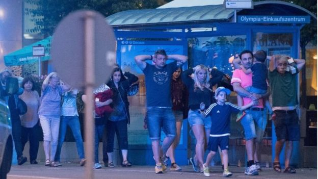 People caught in the Munich shopping mall attack scampering