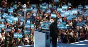 Sanders addressing the DNC
