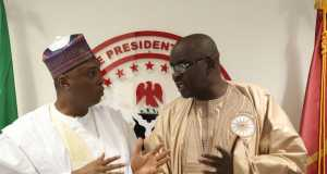 Saraki and Speaker of the ECOWAS Parliament, Hon. Mustapha Cisselo