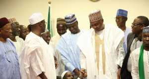 Saraki with members of Persons Living with Disability