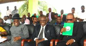 L-R: Governor of Ebonyi State,Engr. David Nweze Umahi; Head of Service, Dr. Chamberlain Nwele former Nigerian Ambassador to Greece, Francis Ogbuewu, during an Agricultural Summit for Civil/Public Servants in Ebonyi State in Abakaliki on Thursday.