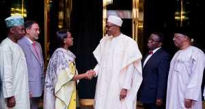 WHO delegation led by Dr Matshidiso Rebecca Moeti, with President Buhari