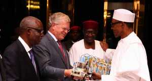 President Buhari with Chief of Staff Abba Kyari, Friesland Campina Global CEO Mr Roelof Joosten and Chairman Friesland Campina Wamco Nigeria Mr Jacobs Moyo Ajekigbe as he receives briefing from the Global CEO Friesland Campina Netherlands Mr Roelof Joosten at the Statehouse on 9th August 2016