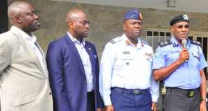 Lagos State Commissioner of Police, Mr. Fatai Owoseni (middle), addressing Government House Correspondents shortly after the Security Council meeting chaired by Governor Ambode at the Lagos House, Ikeja, on Tuesday, August 9, 2016. (L-R) With him are Chief Press Secretary to the Lagos State Governor, Mr. Habib Aruna; Executive Secretary, Lagos State Security Trust Fund (LSSTF), Dr. Razaq Balogun; Commander, 9 Mechanized Brigade, Brigadier General Sanni Mohammed