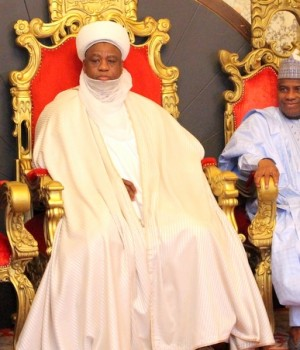 U.S. Secretary of State, Sultan of Sokoto and Governor Aminu Tambuwal during Kerry's visit to Sokoto