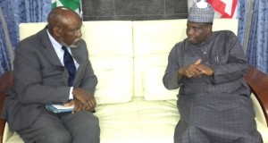 Governor Aminu Waziri Tambuwal with Senior Advisor at the United States Institute for Peace, Ambassador Johnnie Carson, during their meeting Saturday night.