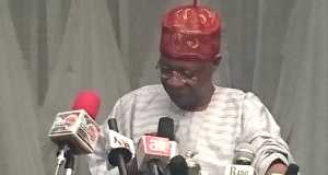 Minister of Information,Lai Mohammed speaking at the All Nigerian Editors' Conference