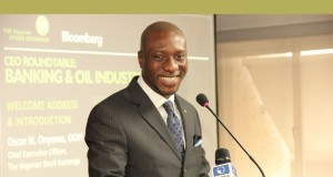 Oscar Onyema, NSE CEO, speaking at the NSE Bloomberg CEO Roundtable Event