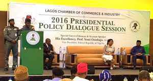 Vice President Yemi Osinbajo(Standing) addressing stakeholders at the LCCI's Presidential Policy Dialogue