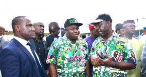 Ambode and Obaseki at the Edo APC Mega rally