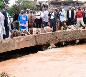 Gov. Aregbesola inspecting the flooded areas in the state