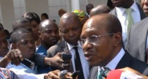 CBN Governor, Godwin Emefiele addressing journalists
