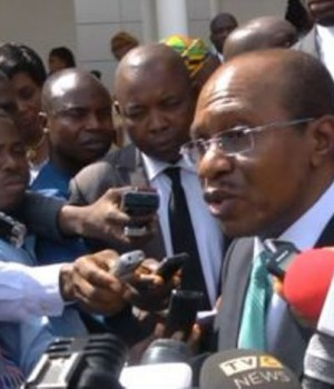 CBN Governor, Godwin Emefiele addressing journalists