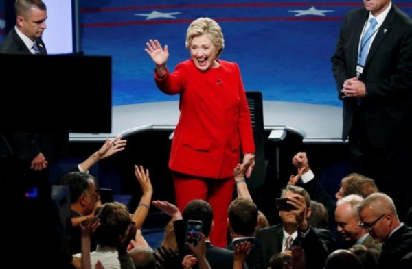 Democratic presidential nominee Hillary Clinton waves after the first presidential debate against Republican presidential nominee Donald Trump (not shown) at Hofstra University in Hempstead, New York,