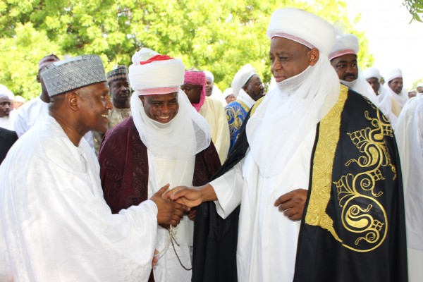 Alhaji Aliko Dangote, Governor Aminu Waziri Tambuwal and Sultan Muhammad Sa'ad at Sokoto central eid ground after the eid prayers