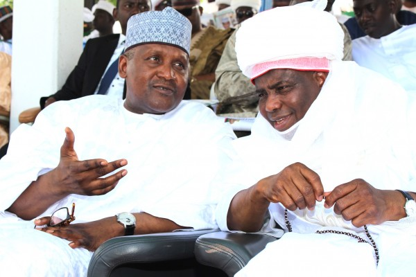Business mogul Aliko Dangote, with Governor Aminu Waziri Tambuwal during a mini Durbar organised by the Sultanate Council as part of sallah activities in Sokoto