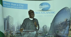 Minister of Information and Culture, Alhaji Lai Mohammed, addressing participants at the 2016 World Tourism Day celebration at Eko Atlantic City on Tuesday,