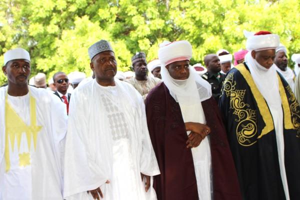 Sultan Muhammad Sa'ad Abubakar, Governor Aminu Waziri Tambuwal, Alhaji Aliko Dangote and Deputy Governor of Sokoto State, Ahmed Aliyu, during the eid prayers at the Sokoto Central Eid Ground
