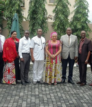 Wife of the Oyo State Governor,Mrs Florence Ajimobi (center), flanked by the State Commissioner for Health, Dr Azeez Adedutan (fouth right), Team Lead of Malaria Action Plan, Mr. Godwin Aidenagbon (fifth left) and other members of the Malaria Action Plan team during a courtesy call on Mrs Ajimobi in Ibadan on Wednesday.
