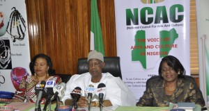 Minister of Information and Culture Lai Mohammed addressing a press conference in Abuja on Thursday on the forthcoming 2016 NAFEST, to be held in Uyo, Akwa Ibom. The Minister is flanked to his left by the Permanent Secretary in the Ministry, Mrs. Ayo Adesugba, and to his right by Mrs Dayo Keshi, DG of the National Council for Arts and Culture (NCAC), organisers of the festival