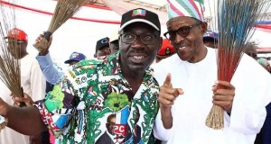 Obaseki-and-President Muhammadu Buhari during the campaign in Benin